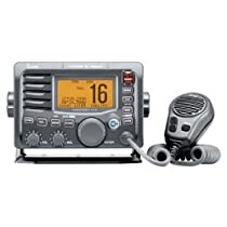 Icom M504A Marine VHF Radio with Built-In Hailer and Front Mount Microphone (Black)
