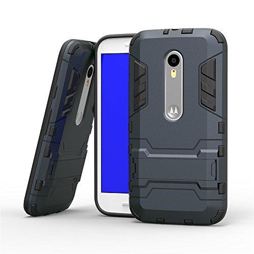 Pudini Robo series Case Cover For Motorola Moto g3 Moto g 3rd gen generation - Navy Blue-Grey
