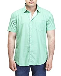 Sting Green Solid Slim Fit Casual Shirt