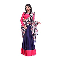 Blue raw silk lehenga with pink border and pink raw silk blouse with blue lace border and blue lace duppatta