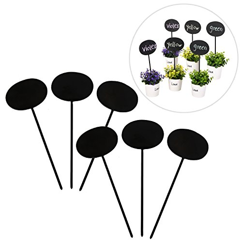 MyGift Chalkboard Garden Markers, Heart Shaped Plant Label Tags