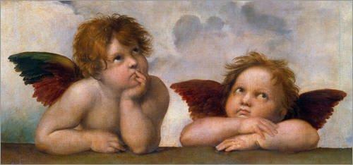 Leinwandbild 90 x 40 cm: Kleine Engel, Detail aus Die Sixtinische Madonna von Raffael – fertiges Wandbild, Bild auf Keilrahmen, Fertigbild auf echter Leinwand, Leinwanddruck