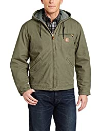 Carhartt Men\'s Sherpa Lined Sandstone Sierra Jacket J141,Army Green,Small
