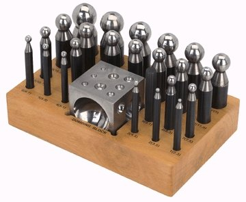 SE JT3405DS 25Pc Doming Punch & Dapping Block Set with a Wood Stand