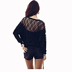 Womens Ladies Stylish Sexy Hot Loose Batwing Dolman Lace Blouses Top T-shirt Fit UK Size 8-20, Batwing Style, Long Sleeves, Loose Style