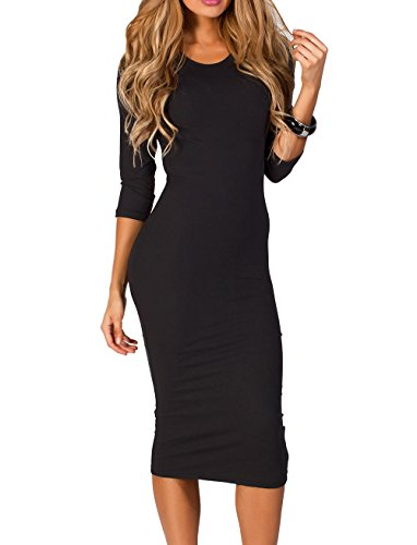 ICONOFLASH 3/4 Sleeve Midi Bodycon Dress (Black, Small)