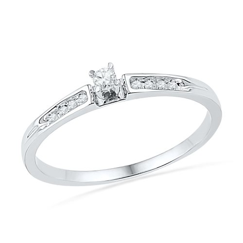 10KT White Gold Round Diamond Promise Ring (0.12