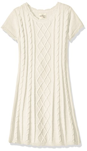 Scout + Ro Girls' Cable Knit Sweater Dress, Frost Cream, 7