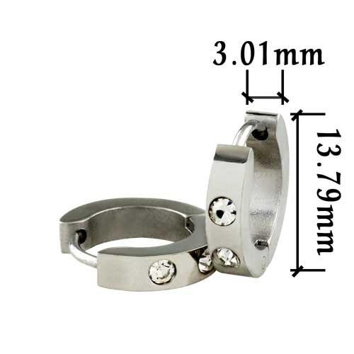 Pugster Clear Cubic Zirconia Huggie Hoop Earrings For Men