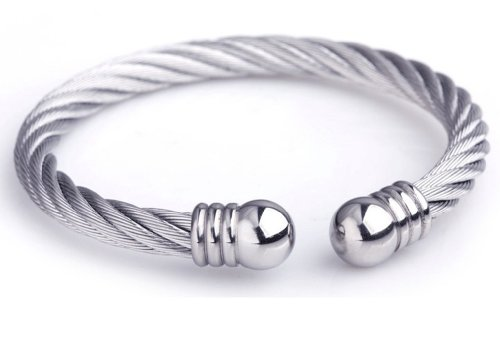 Silver Elegant Mens Stainless Steel Wire Twist Weave Adjustable Bracelet Cheap Punk Jewelry,101124