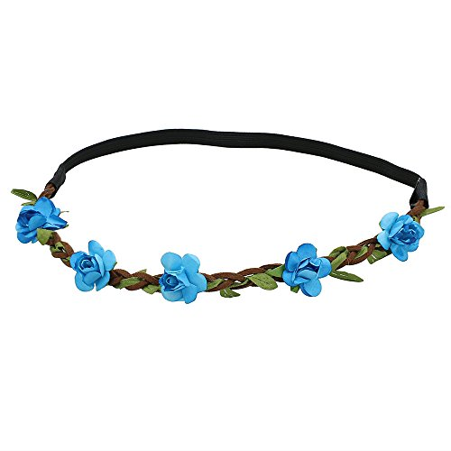 Hippie Love Flower Garland Crown Festival Wedding Hair Wreath BOHO Floral Headband (Blue)