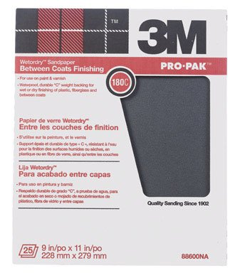 3M Pro-Pak Wetordry 88600NA Sanding Sheets, 9-Inch x 11-Inch, 180C-Grit