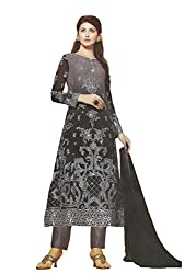 Namrah Collection Womens Georgette Resham Salwar Suit Dress Material (1018_Black)