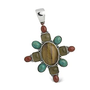 Southwest Spirit Sterling Silver Multi-Gemstone Rustic Autumn Hues Pendant Enhancer