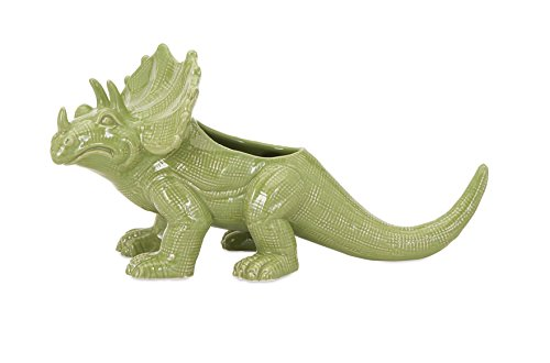 IMAX 11745 Ingenious Dinosaur Ceramic Planter, Green