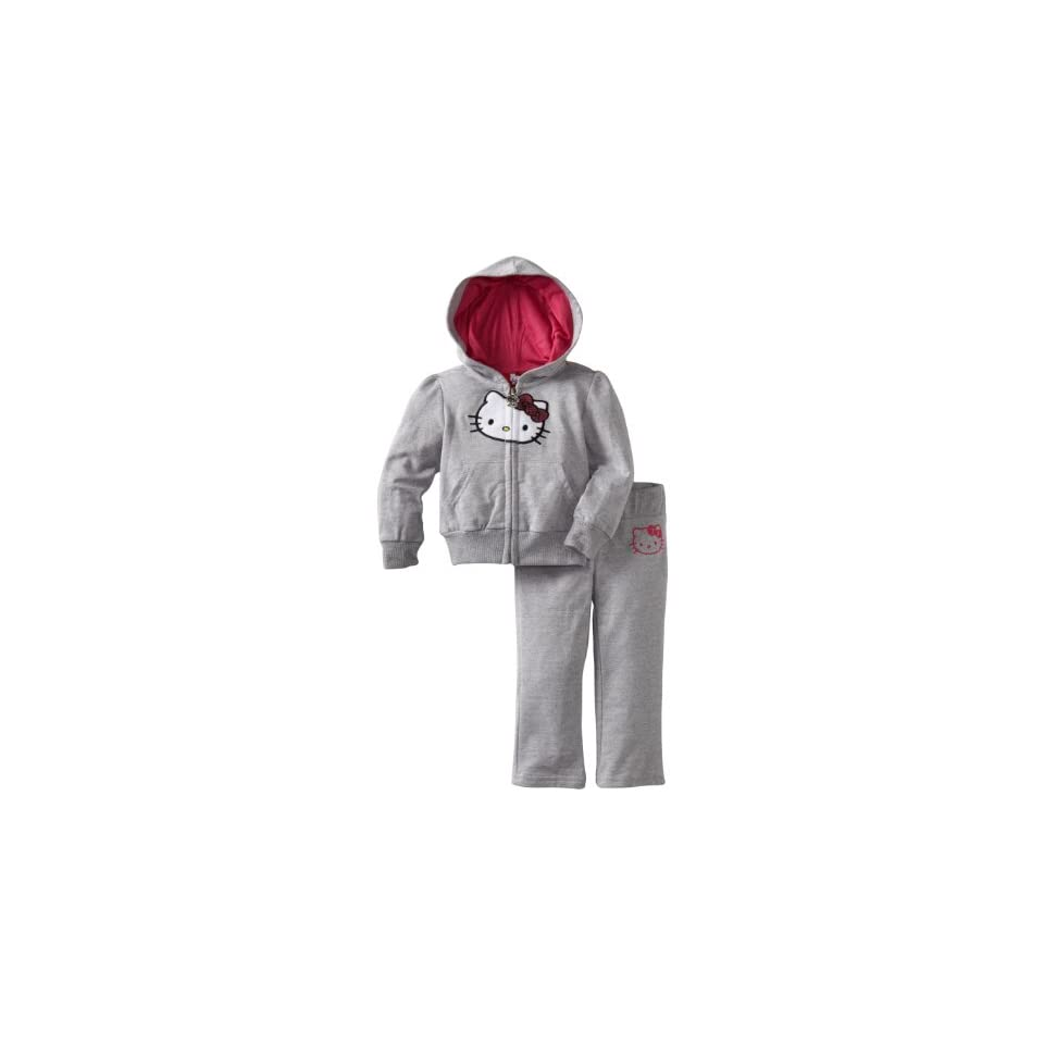 Hello Kitty Baby Girls Different Colored Hood Sweatsuit Set, Heather Grey, 12 Months