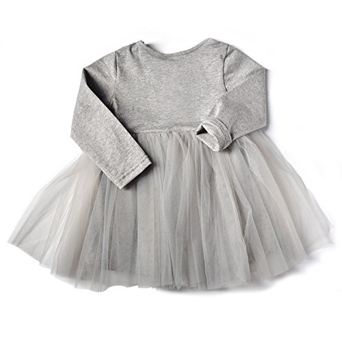 Infant Toddler Baby Girls Tutu Dress Long Sleeves Ruffle Gauze (92(18-24M), Gray)