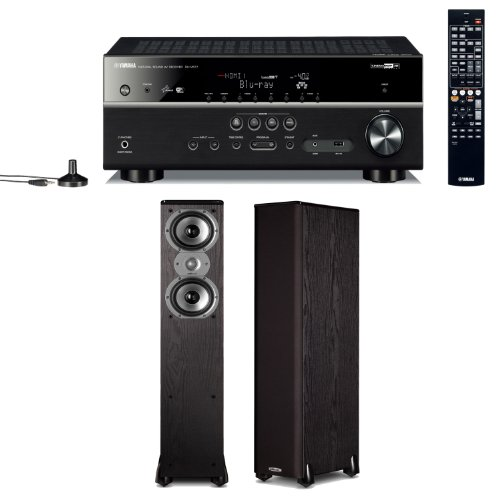 Yamaha Rx-V577 7.2 Channel Networking Home Theater Receiver Plus A Pair Of Polk Audio Tsi 300 3-Way Floorstanding Speakers