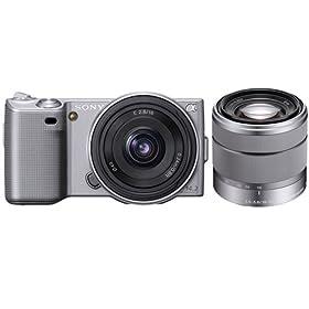Sony DSLR NEX5ASK1 NEX-5A 14.2MP Digital Camera; 16mm 2.8 & 18-55 Lenses Silver