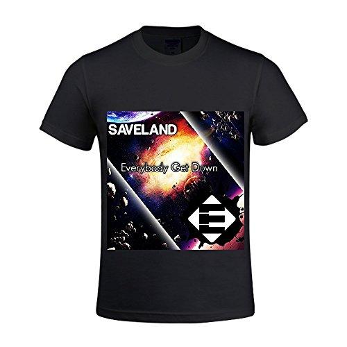 Everybody Get Down Saveland Men Crew Neck Men Slim Fit T Shirt Black