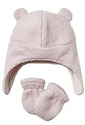 Pilot Velboa Hat & Mitten Set Pink (0-9 Months)