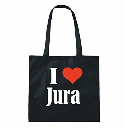"""Tasche""""I Love Jura""""Größe""""38x42""""Farbe""""Schwarz""""Druck""""Weiss"""