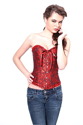 Angel&Me Sexy Medium Size Red Spandex satin Red Pattern Corset Bustiers