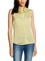 Trakabarraka Camisa Mujer Abedul Rayas (Amarillo / Gris)