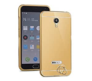 Aart Luxury Metal Bumper + Acrylic Mirror Back Cover Case For meizummeizum2 Gold
