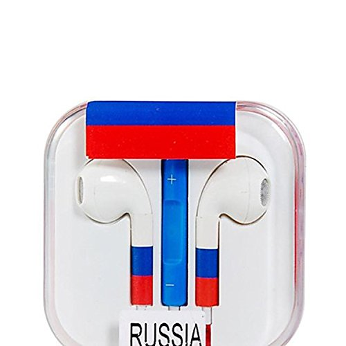 Vamvaz Fashion World Russia Flag Design 3.5Mm Volume Controllable In-Ear Earphone With Microphone For Iphone 4 4G 4S 5 5S 5C Ipad 2 Mini 5 Air Ipod