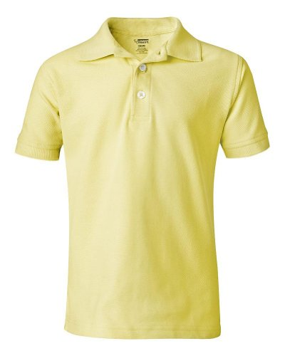 School Uniform Unisex Short Sleeve Pique Knit Shirt By French Toast, Yellow 31907-2T front-103491