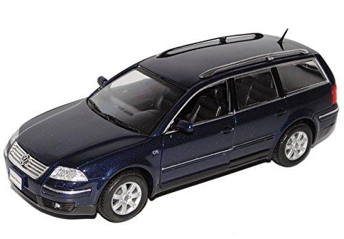 VW-Volkswagen-Passat-Blau-Variant-Kombi-2000-2005-3BG-124-Welly-Modell-Auto-mit-individiuellem-Wunschkennzeichen