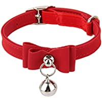 Generic Adjustable Pet Kitten Cat Puppy Safety Collar Bell Buckle Neck Strap Red