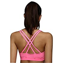 Animas Women's Wirefree Padded Criss Cross Back Yoga Sports Bra Pink S