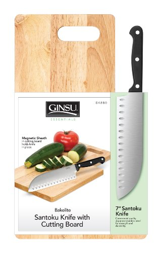 Ginsu 4880 7-Inch Santoku Knife, Stainless Steel, with Hardwood Cutting Board
