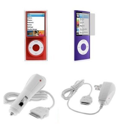 Accessory bundle kit: Hard Grade A Crystal Case + Auto Car Charger DC + Home Travel Charger AC + Clear Screen Protector for iPod Nano 5g Nano 5th Generation