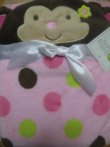 Baby Girl Hooded Soft Monkey Blanket - 1