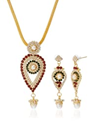 "AAKSHI Green Coloured ""Pearly Raindrops In Dual Tone"" Jewellery Set (AKS_ST_PRDGR)"