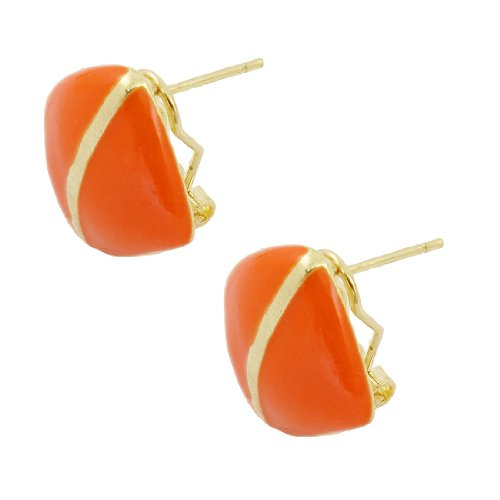 Rosallini Woman Orange Square Gold Tone French Clip Earrings
