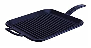 Lodge P12SGR3 12-Inch Pro-Logic Pre-Seasoned Cast Iron Square Grill Pan (Black)