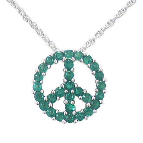 Sterling Silver Created-Emerald Peace-Sign Pendant Necklace , 18