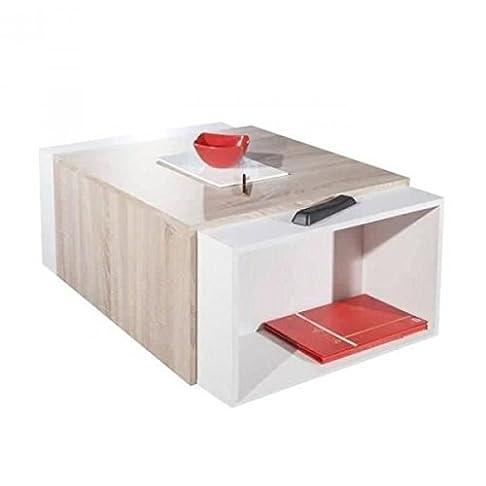 CHARLY - Tavolo basso, modulare, colore: marrone e bianco