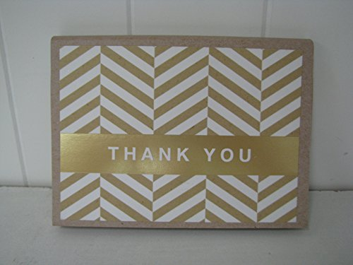 Hallmark TYN1031 Kraft & Gold Blank Thank You Notes - 10ct Pkg - 1