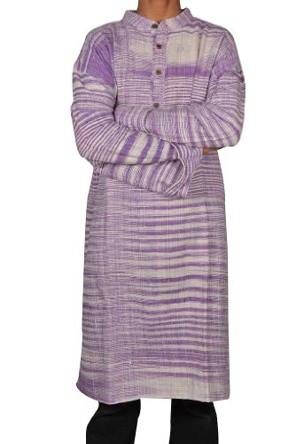 Indian Casual Wear Cotton Khadi Long Kurta with Standing Collar Neckline Fabric For Winter & Summers Size 7XL