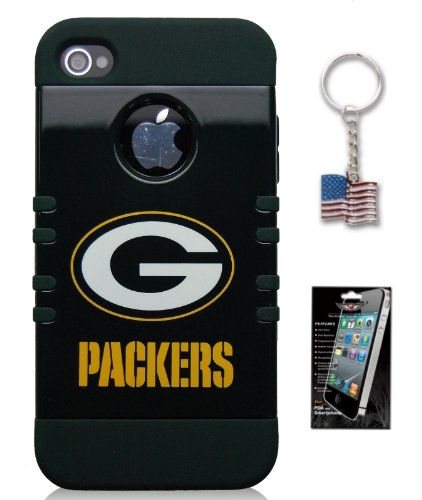 Apple iPhone 5 & 5S Green Bay Packers Hybrid Rocker Series Cover Case **FREE Screen Protector & American Flag Keychain Bundle Pack** Officially Licensed NFL Football Product. Silicone Skin Underneath with Hard Shell Case Outside at Amazon.com
