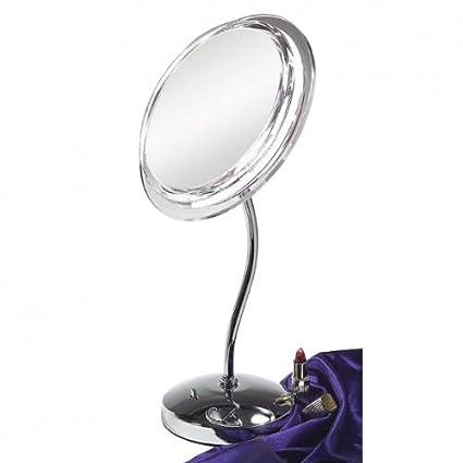 "9"" Neck Pedestal Surround Light Mirror (Chrome) (16.75""H x 10.5""W x 7.5""D)"