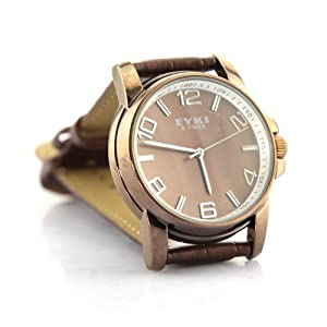 Lover Fashion EYKI Leather Japan Move Quartz Hour Men Watch Waterproof Stainless steel Brown ROSE Gold