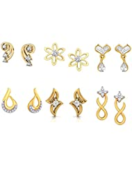 Combo Of (Pack Of Six Earrings Set) Imperical American Diamonds Gold Plated Stud Earrings By Kaizer Jewelry For...