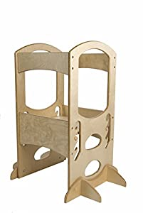 #1 Kids Step Stool w/Safety Rail ★ Little Partners Learning Tower, Natural ★ Adjustable Height Kitchen Step Stool for Toddlers ★ Solid Wood Construction ★ For Your Little Helper in the Kitchen ★ 100% Satisfaction Guaranteed
