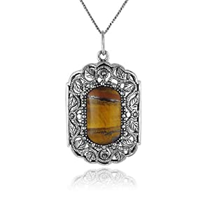 """Sterling Silver Marcasite and Tiger Eye Rectangular Pendant Necklace , 18"""""""